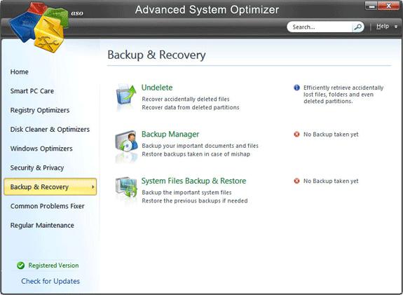Advanced System Optimizer V3, Software Utilities Screenshot