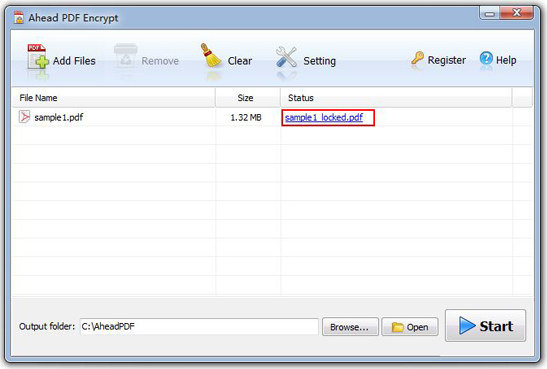 Business & Finance Software, Ahead PDF Encrypt Screenshot