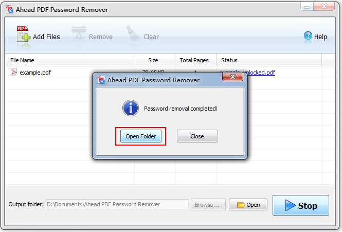 Ahead PDF Password Remover, Business & Finance Software Screenshot