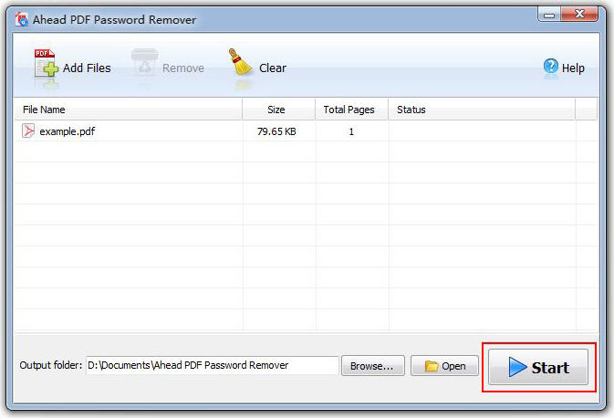 Ahead PDF Password Remover, PDF Utilities Software Screenshot