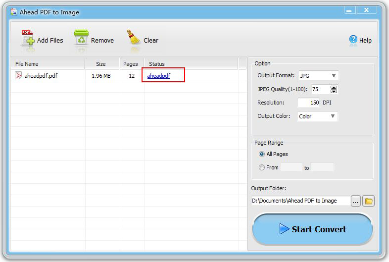 Business & Finance Software, Ahead PDF to Image Converter Screenshot
