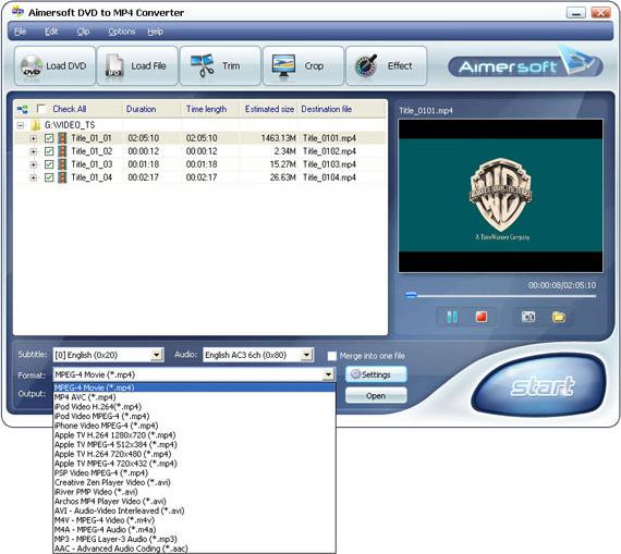 Aimersoft DVD to MP4 Converter Screenshot