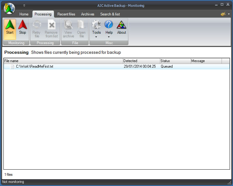 AJC Active Backup, Access Restriction Software Screenshot