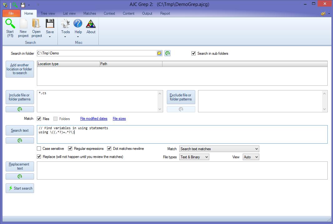 AJC Grep Screenshot