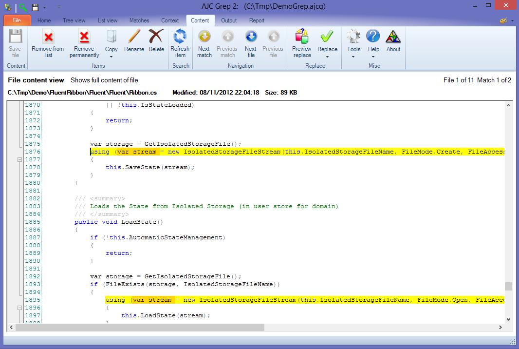 Software Utilities, AJC Grep Screenshot