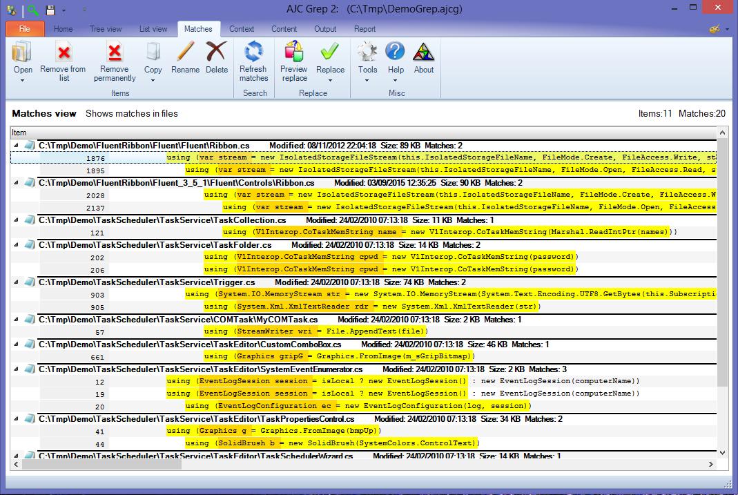 AJC Grep, Software Utilities Screenshot