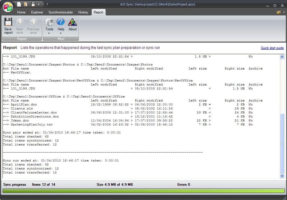 Backup Files Software, AJC Sync Screenshot