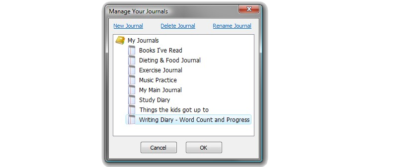 All My Journals, Organization Software Screenshot