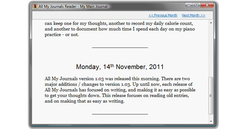 All My Journals, Productivity Software Screenshot