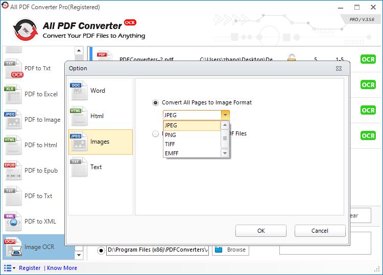 All PDF Converter, PDF Conversion Software Screenshot