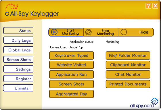 All-Spy Keylogger Screenshot