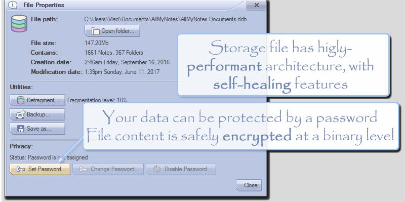 Productivity Software, AllMyNotes Organizer Screenshot