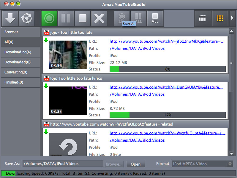 Amac YouTubeStudio, Video Software Screenshot