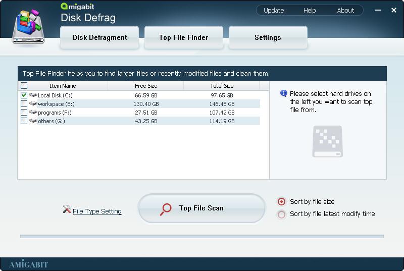 Amigabit Disk Defrag, Hard Drive Software Screenshot