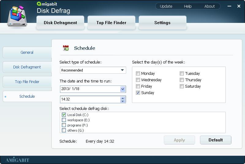 Software Utilities, Amigabit Disk Defrag Screenshot