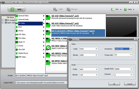 Aneesoft HD Video Converter, Video Converter Software Screenshot