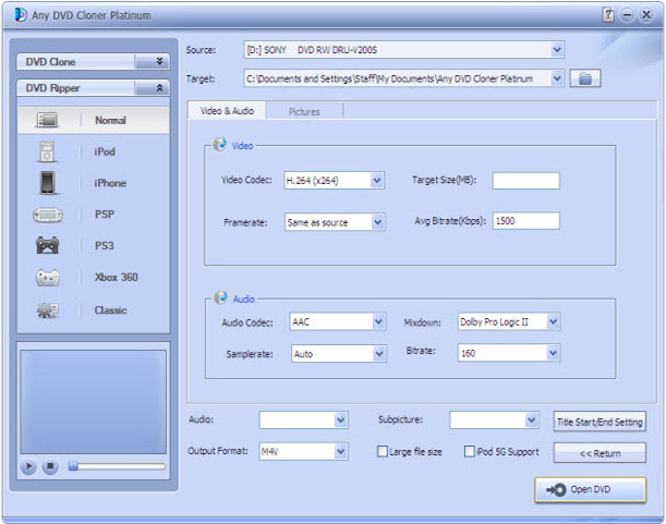 Any DVD Cloner Platinum, DVD Copy Software Screenshot