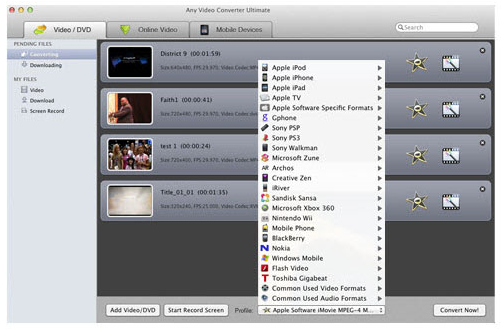 Any Video Converter Ultimate, Video Converter Software Screenshot