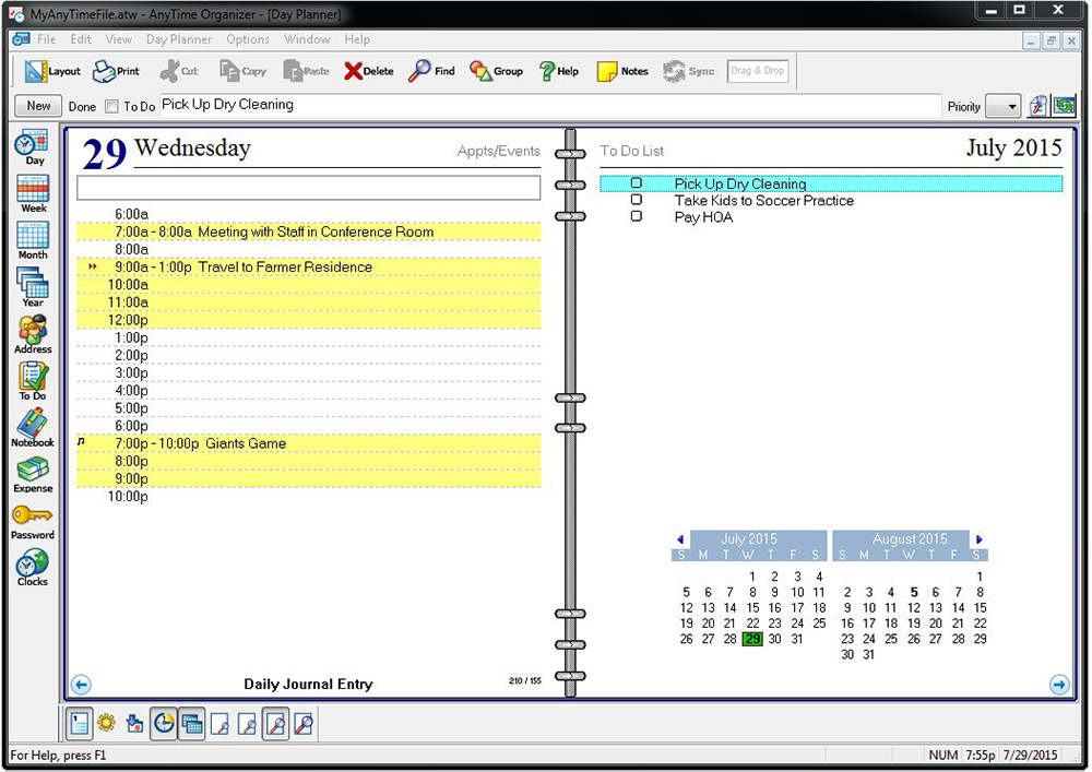 AnyTime Organizer 15 Standard, Productivity Software, Organization Software Screenshot