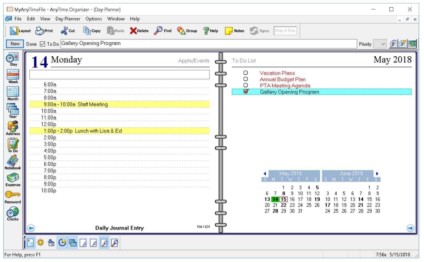 AnyTime Organizer Deluxe, Organization Software Screenshot