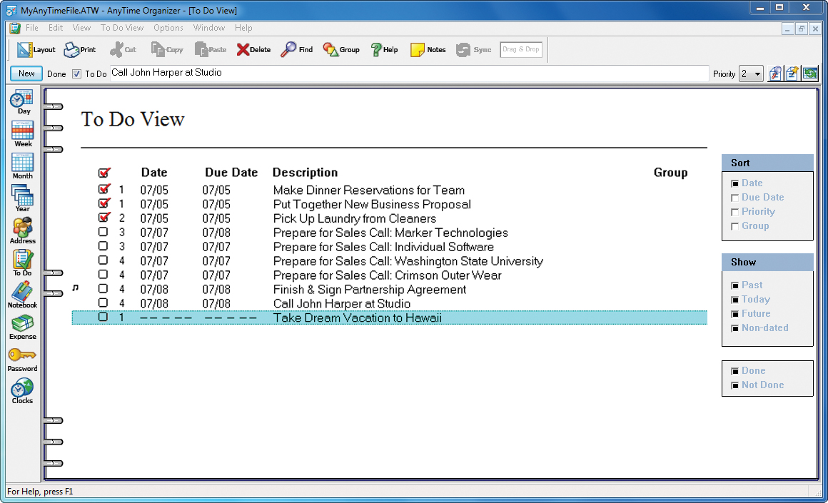 Organization Software, AnyTime Organizer Deluxe Screenshot
