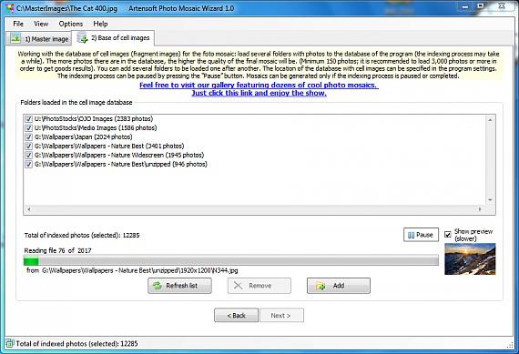Design, Photo & Graphics Software, Artensoft Photo Mosaic Wizard Screenshot