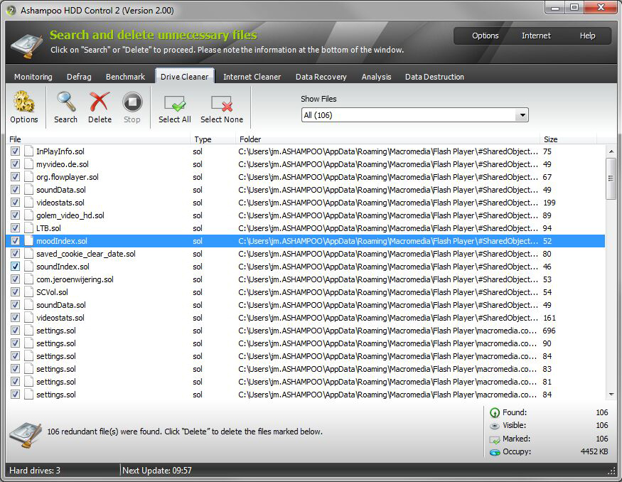 System Stability Software, Ashampoo HDD Control Screenshot