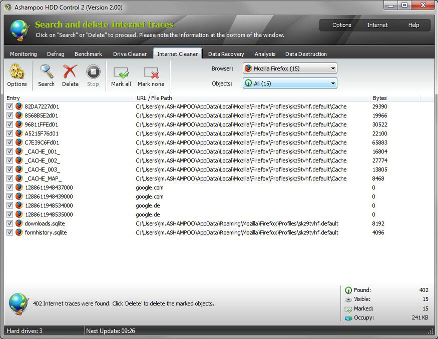 Software Utilities, Ashampoo HDD Control Screenshot