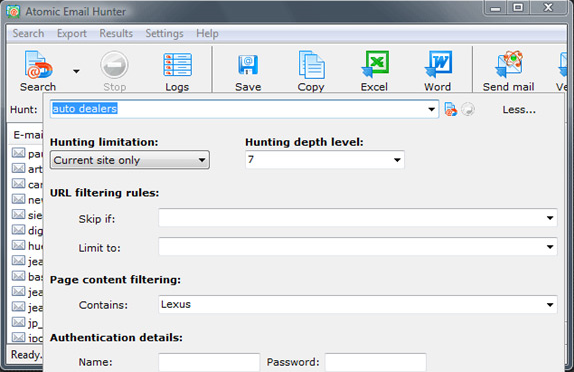 Atomic Email Hunter, Email Extraction Software Screenshot