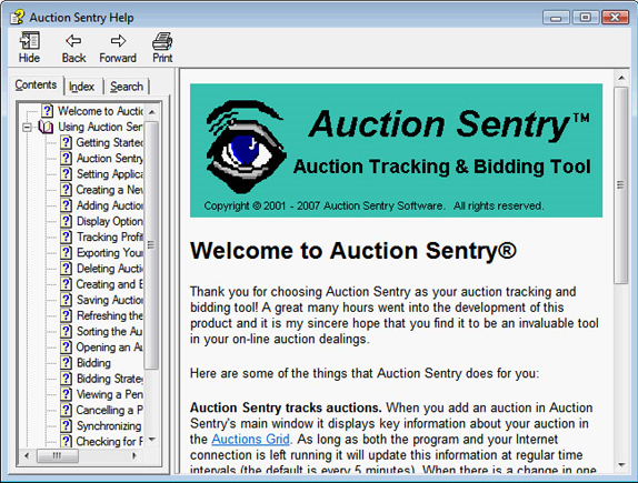 Auction Sentry Deluxe, Lifestyle Software Screenshot