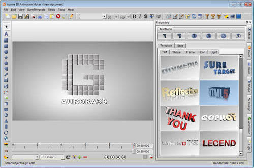 Aurora 3D Animation Maker, Design, Photo & Graphics Software Screenshot