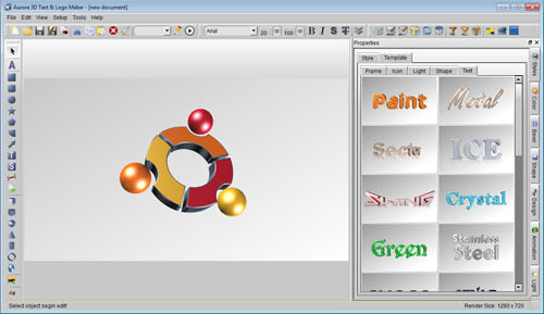 Aurora 3D Text & Logo Maker, Graphic Design Software Screenshot
