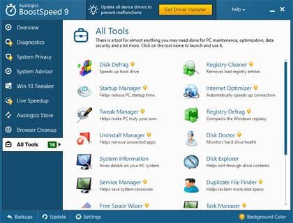 Auslogics BoostSpeed, Software Utilities Screenshot