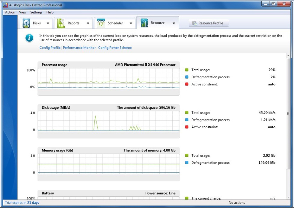 PC Optimization Software, Auslogics Disk Defrag Pro Screenshot