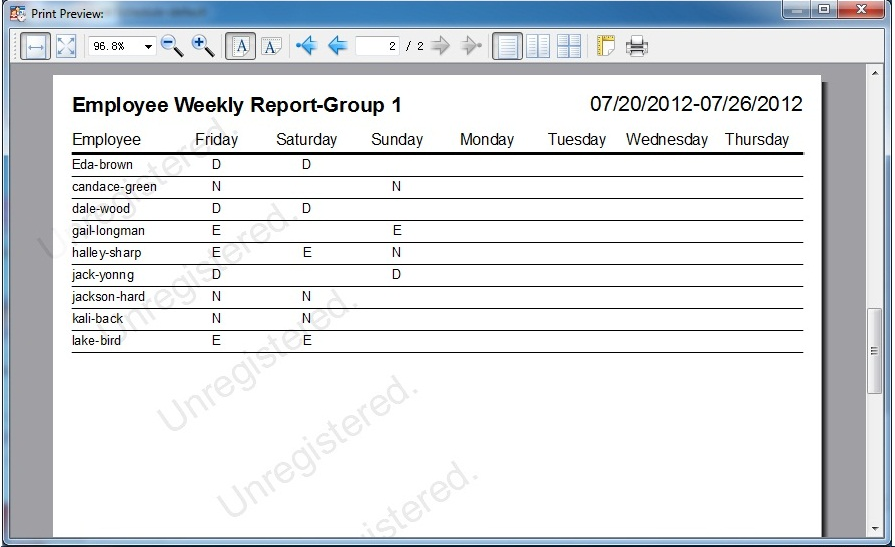 Business & Finance Software, Auto Employee Schedule Screenshot
