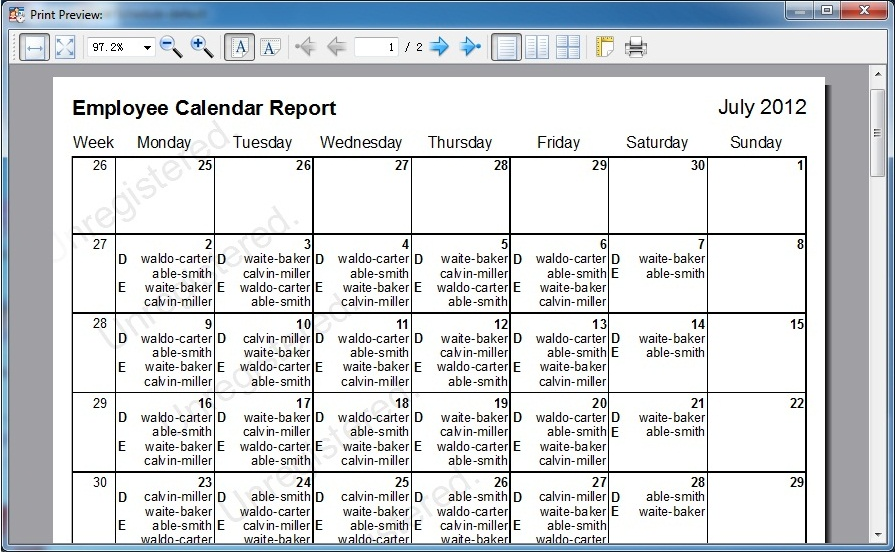 Auto Employee Schedule Screenshot