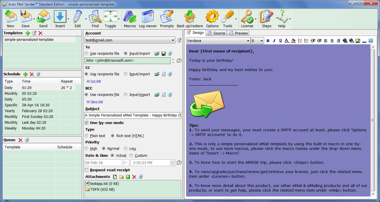 Auto Mail Sender™ Standard Edition Screenshot