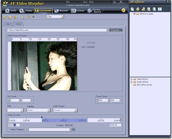 AV Video Morpher, Video Editing Software Screenshot
