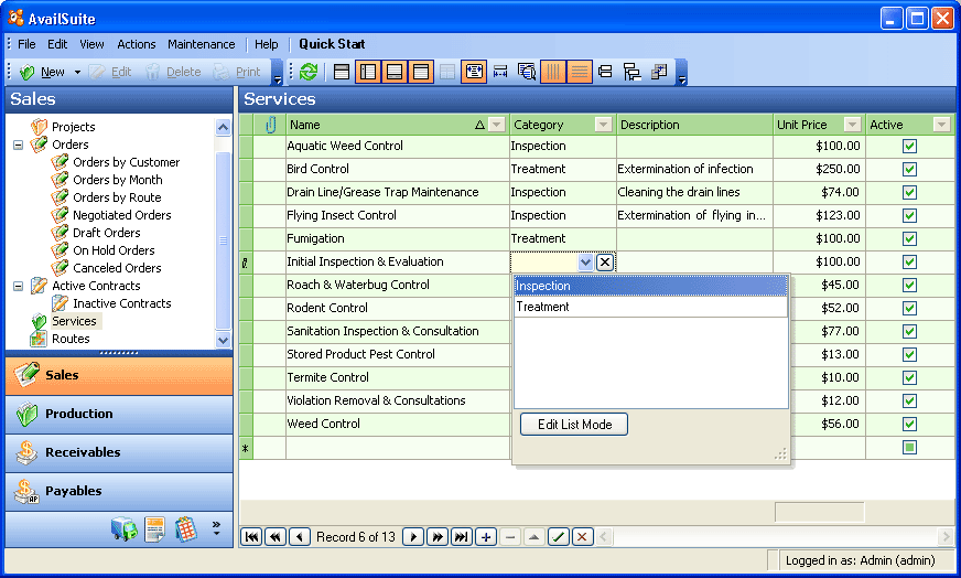 business management software screenshot availsuite pest control screenshot 8