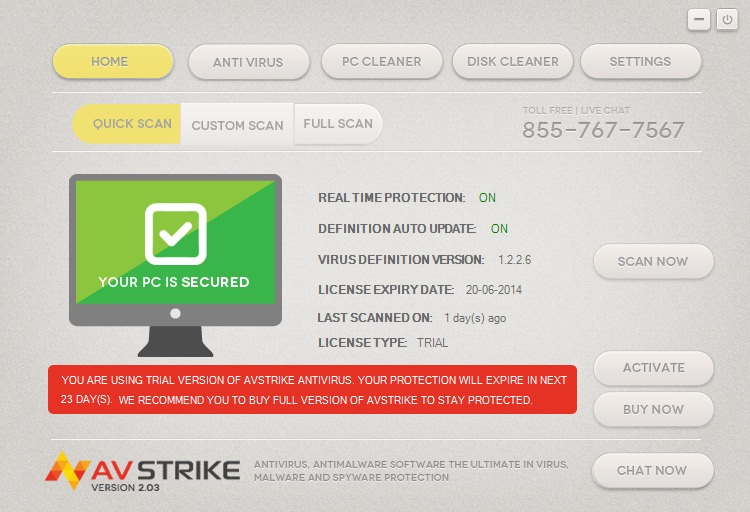 AVstrike Antivirus Screenshot