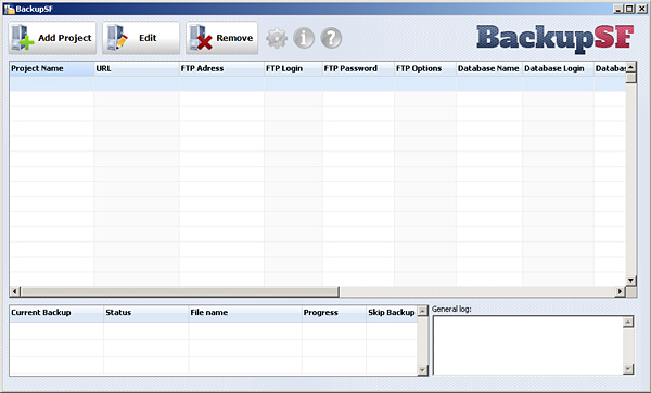 BackupSF Pro, Database Management Software Screenshot