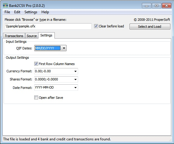 Bank2CSV Pro, Finance Software Screenshot