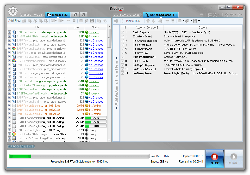 Batch Text File Editor Screenshot