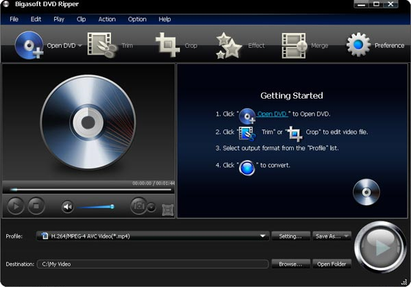 Bigasoft DVD Ripper Screenshot