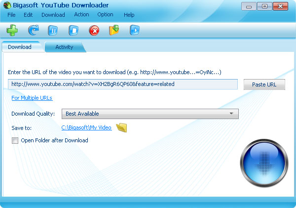Bigasoft YouTube Downloader Screenshot