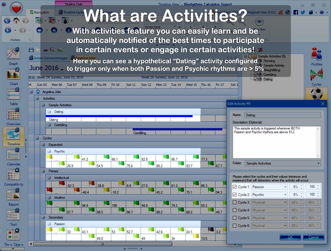 Biorhythms Calculator, Lifestyle Software Screenshot