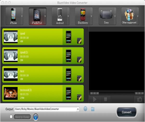 BlazeVideo Video Converter for Mac Screenshot
