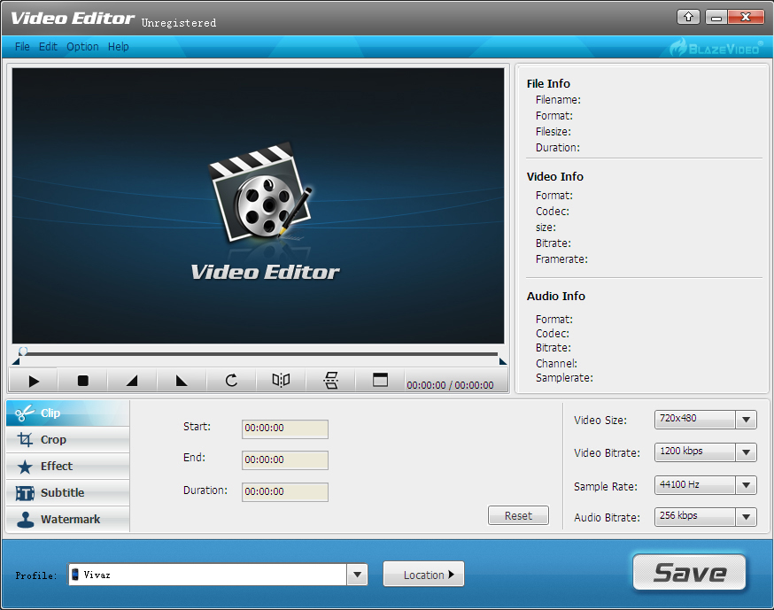 BlazeVideo Video Editor Screenshot