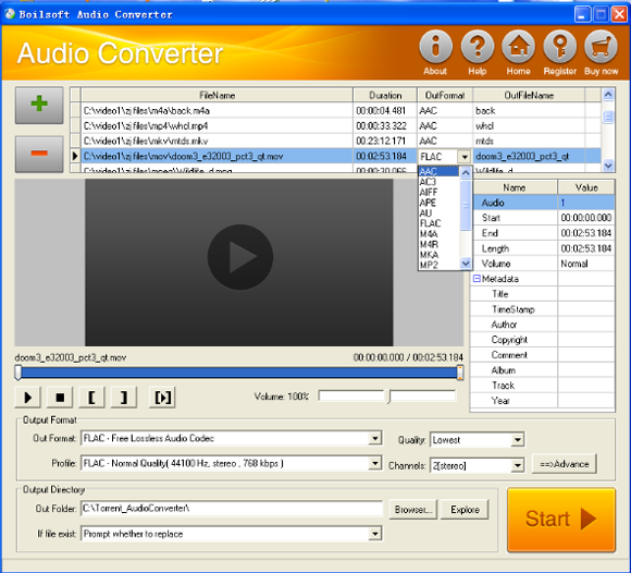 Boilsoft Audio Converter, Audio Conversion Software Screenshot
