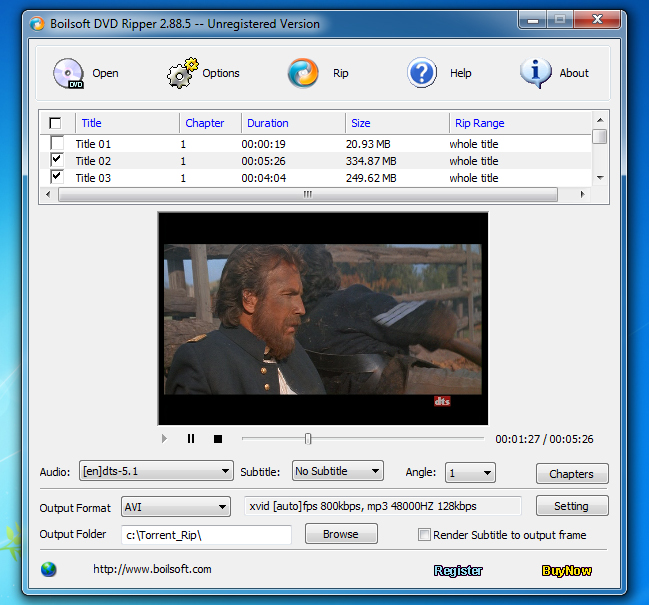 Boilsoft DVD Ripper Screenshot